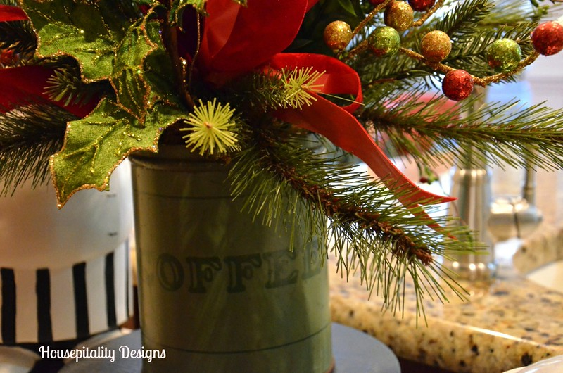 Christmas Arrangement in Vintage Coffee Tin