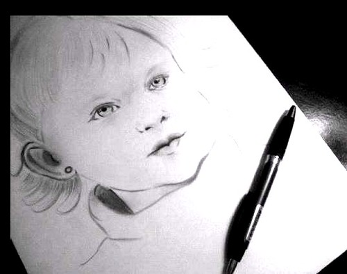 Girl portrait in pencil