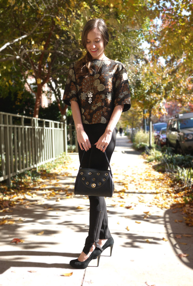 vintage brocade top, bell sleeves, vintage black bag, my fair vanity