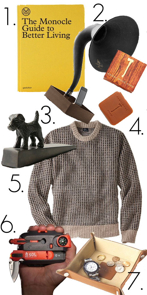 Men, Gift guide, gramophone, book, dog, doorstop, soap, sweater, valet, boy, present, gift,
