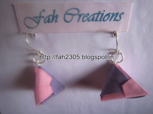 Handmade Jewelry - Origami Paper Triangle Earrings (3) by fah2305