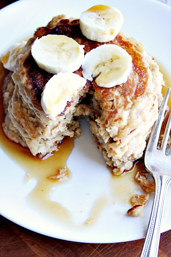 Oatmeal Peanut Butter and Banana Pancakes