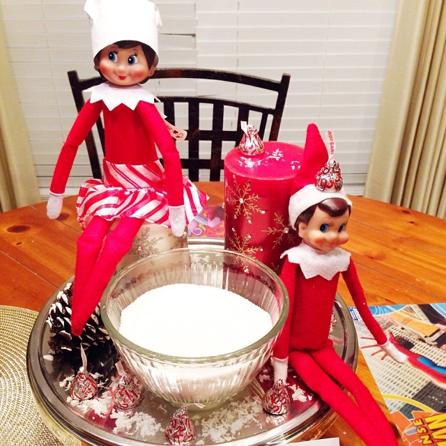 Today Elfie and Samantha left seeds (peppermint kisses) for the kids to plant in a bowl of sugar. Samantha is even wearing her cooking hat. Then, they need to put some sprinkles on top to water the seeds. Any idea what will grow?? Tomorrow morning we will