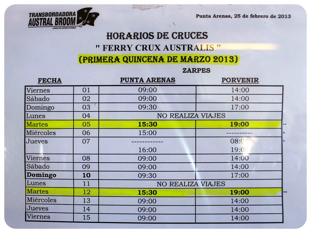 ferry timetable punta arenas to porvenir
