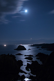 Moon and Venus on the Sea of Blue Velvet