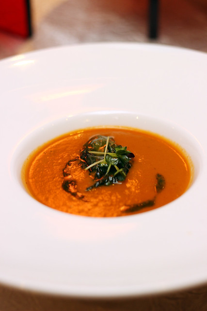 Roma Tomato Soup with Pesto