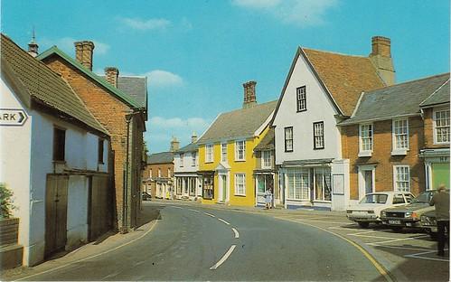 Broad Street, Eye, Suffolk old postcard late 1970s?