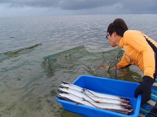 研究人員必須懂得如何布餌、設置魚網,甚至網破了也要懂得補。攝影:詹嘉紋