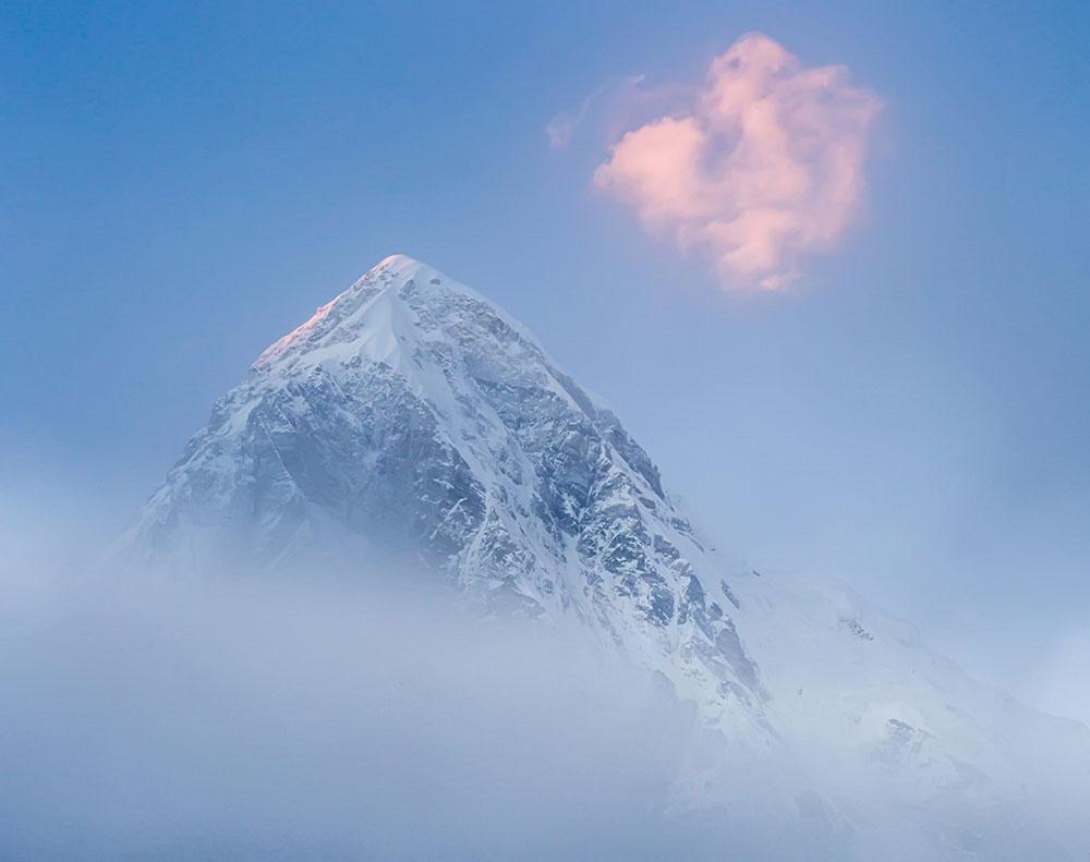 Pumori peak (7161 m) at dawn in Himalaya