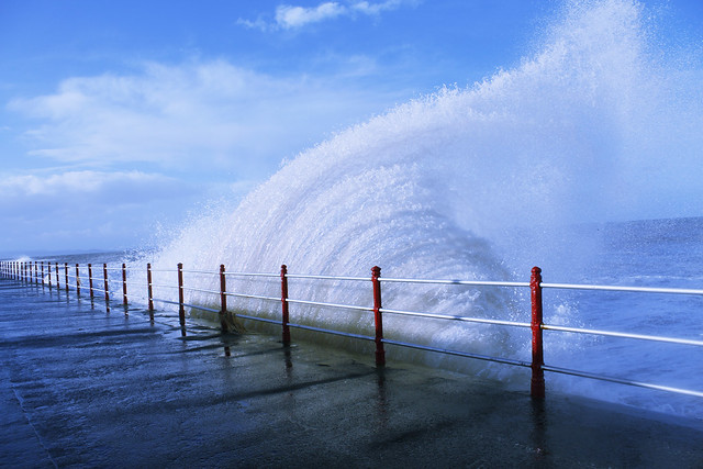 Wave on Rhyl prom at high tide