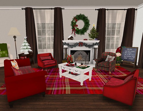 Holiday Home Tour: LR, Red Plaid Main Xmas Seating Area & Fireplace
