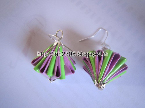Handmade Jewelry - Origami Paper Diamond (Unit) Earrings (5) by fah2305