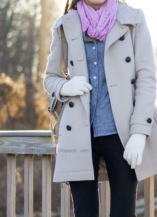 lilac scarf, chambray shirt, trench coat