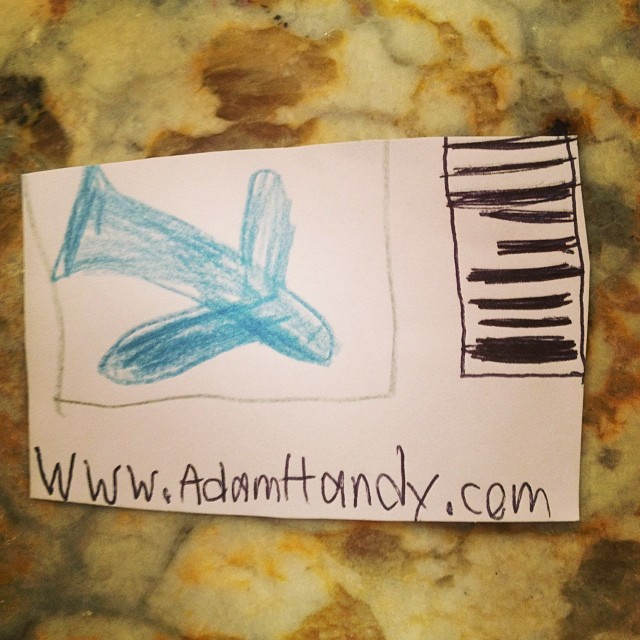 """Mom, here's my business card. Just scan the bar code for all the details.""  He's only seven."
