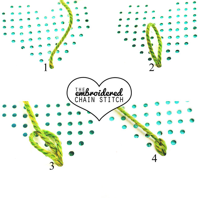 embroidered chain stitch step by step via goodknits