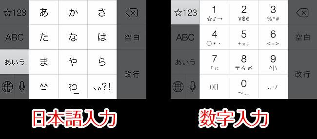 左: 日本語入力の配置 / 右: 数字入力の配置