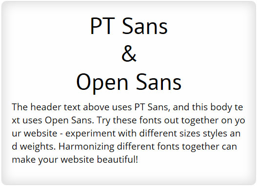 PT Sans and Open Sans