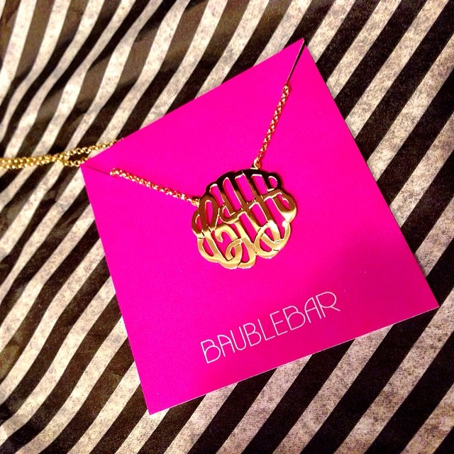 Brian surprised me with this monogrammed necklace from #baublebar when I got home from work! If you follow my blog, you'll know this has been on my wish lost for quite some time!! Can't wait to wear it out to dinner tonight. #vdaybaubles #lovemyhubs