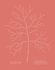 Family tree with names art pink white present day