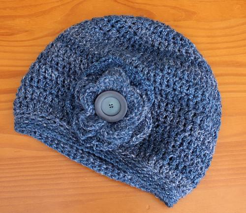 Blue crochet slouchy hat