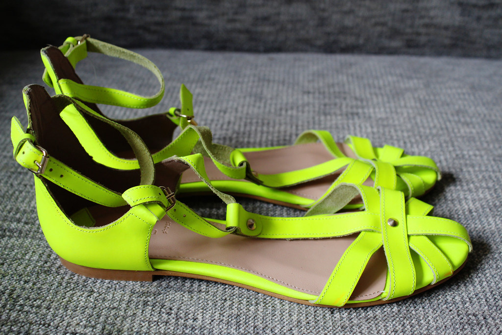 Neon green yellow sandals from bershka