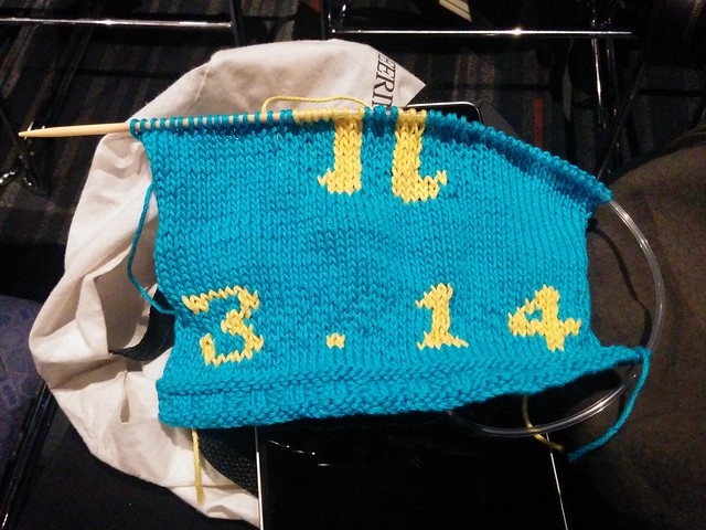 Pi baby sweater (half complete front)