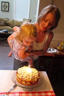 blowing out her birthday candles