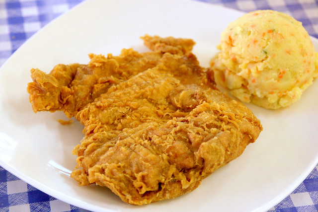 Chicken cutlet with potato salad