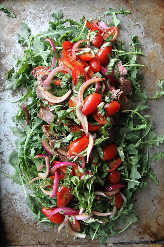 Grilled Steak with Arugula and Cherry Tomato and Basil ...