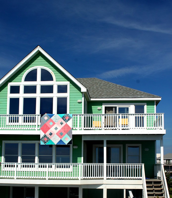 My Friendship Diamond Quilt at the beach house!