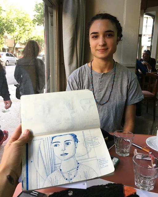 Ayer dibujé a #Romane para mi proyecto con las @chicksoncomics en @fundacion_proa #LongDistanceRelationship #dialogodemujeres #women #artandcomics