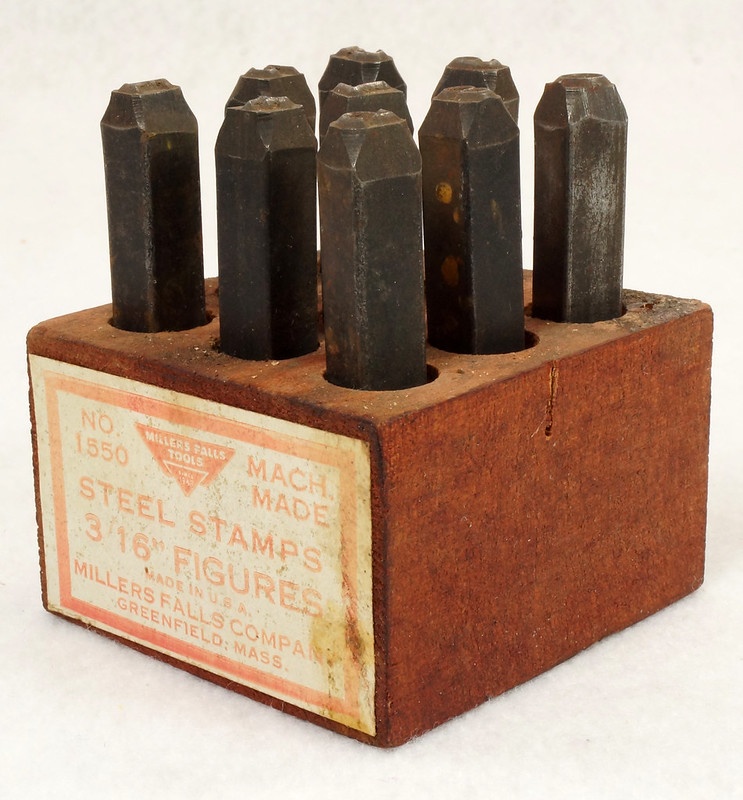 RD14695 Millers Falls 3-16th inch Figures Steel Number Punch Stamps Set No 1550 USA DSC06514