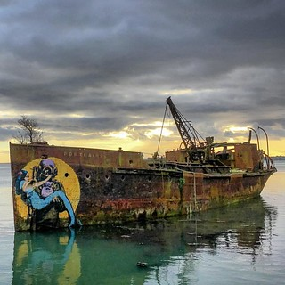 Retired Steam Dredger, Portlairge, left to rot away in Bannow Bay, Co. Wexford. #isupportstreetart #streetart #thestreetisourgallery
