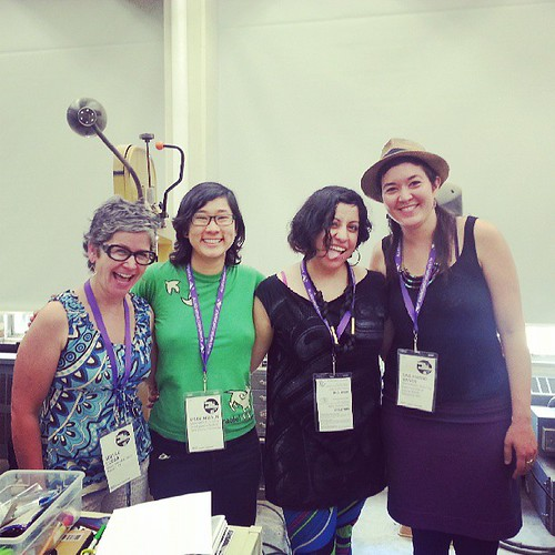 All the #amc2013 #makezines presenters from left to right: Adela C. Licona, Moonroot's Linda, POCZP founder Daniela and Moonroot's Sine