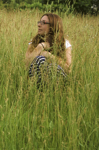 portrait woman selfportrait nature field lady outdoors glasses nikon sitting longhair skirt thoughts pensive 40mm redhair tallgrass 52 selfie 2652 52project d7000 52weeksofphotography nikond7000 2013inphotos worriedaboutgrasshoppersgettingupmyskirt