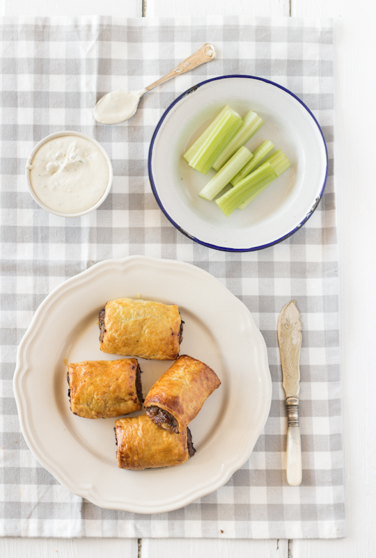 Beef & Caramelised Onion Sausage Rolls with Blue Cheese Dipping Sauce