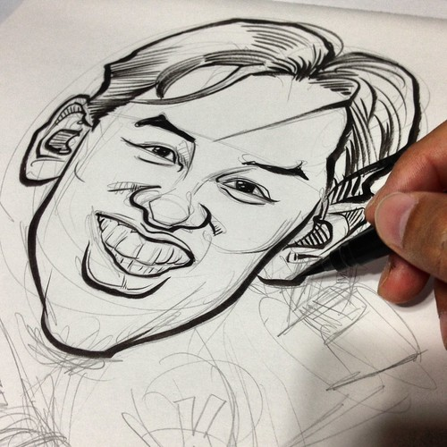 surfer caricature for DHL - progress
