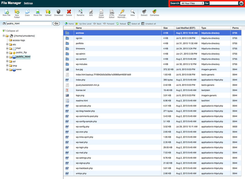 File Manager Search by name