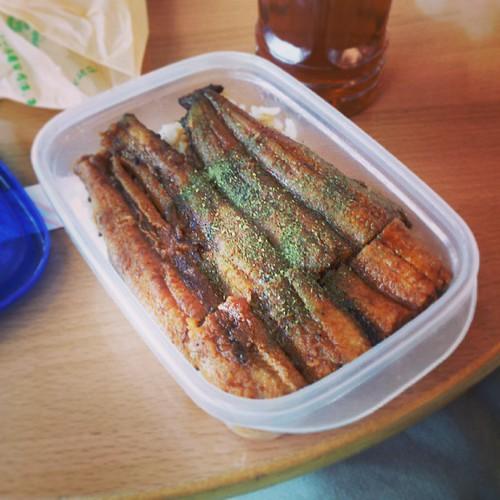 一足先に自分だけ東京戻ります。 おばちゃんが昨日の残りで鰻弁当作ってくれました。美味かった!感謝!!