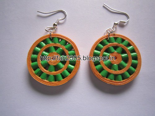 Handmade Jewelry - Paper Quilling Double Round Earrings (Cylinder Beads) (1) by fah2305