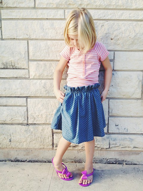 Remade   Thrifted Dress to Girl's Paper Bag Skirt