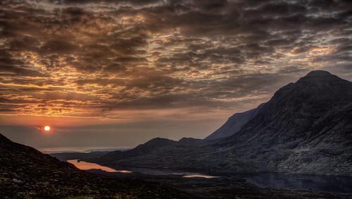 sunset mountain landscape scotland day cloudy torridon munro