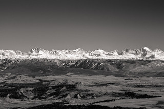 "Wind River Range, as seen from 50 ""crow's flight"" miles away yesterday."