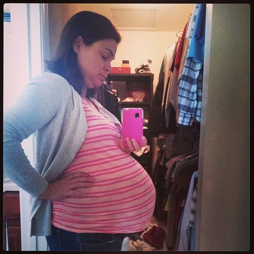 """37 weeks, and it's been a rough one. On the bright side, first week of this entire pregnancy that I have gained zero pounds. Giving new meaning to """"I am ONE stomach flu away from my goal weight!"""" (I love you if you know that movie.)"""