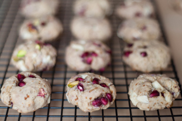 pistachio, pomegranate, white chocolate cookies for Christmas
