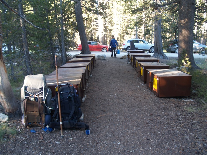 Bear proof storage at the Lembert Dome Trailhead