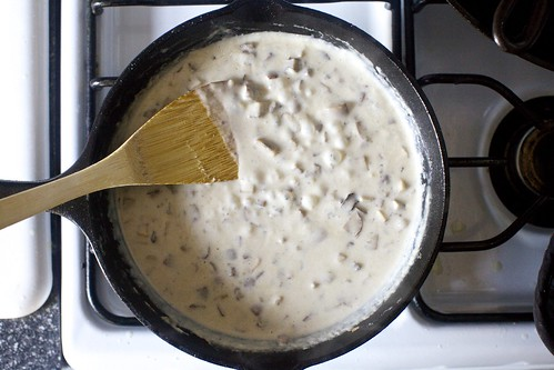 mushroom sauce, cream added