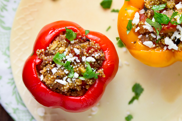Gyro-Stuffed Bell Peppers with Quino & Feta