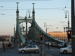 Budapest: Liberty bridge at rush hour