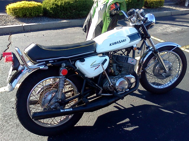 Kawasaki 750 2-stroke ... I think this is a bit of a Frankenbike as I think it's an H1 with a different engine? Drum brake confusing me.